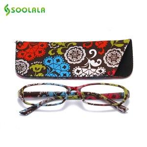 Image 4 - SOOLALA lunettes de lecture rectangulaires, imprimées, pour femmes, 4 pièces, avec pochette assortie + 1.0 1.5 1.75 2.25 à 4.0