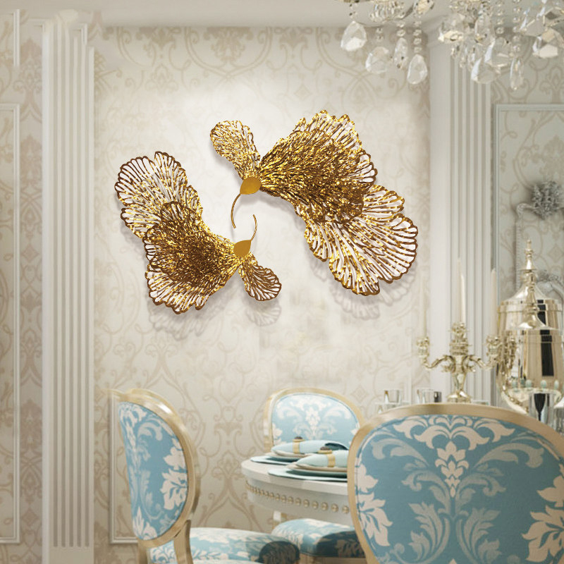 European Wrought Iron Butterfly Flower Wall Hanging Ornaments Home Livingroom Wall Mural Crafts Decoration Hotel 3D Wall Sticker - 3