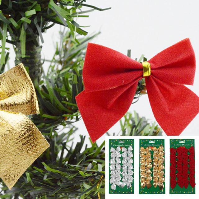 christmas tree bow decoration baubles merry xmas party garden bows ornament 12pcs xmas - Christmas Tree Bows