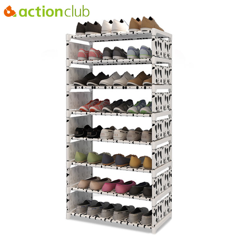 Actionclub Eight Layers Metal Non-woven Cloth Shoe Rack Storage Space Saver Shoes Shelves DIY Books Shelf Organizer Furniture shoe rack nonwovens steel pipe 4 layers shoe cabinet easy assembled shelf storage organizer stand holder living room furniture