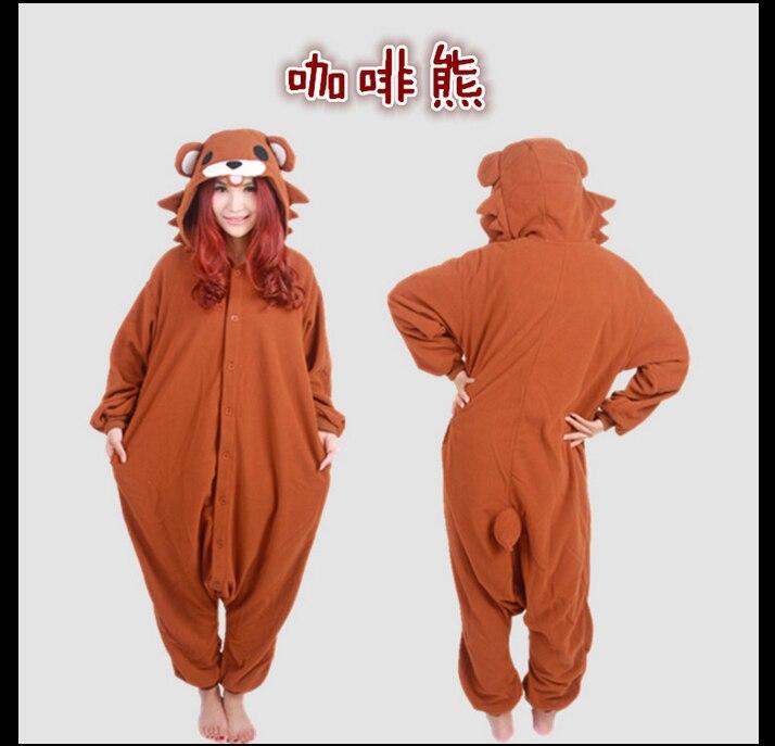 New Arrival Animal Cosplay Costumes Coffee Bear Pajamas Unisex Ladys Style Cartoon Brown Bear Onesies