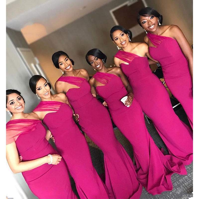 2019  Sheath Bridesmaid Dresses Cheap One Shoulder Sweep Train Wedding Party Gowns Formal Gowns Maid Of Honor Dress