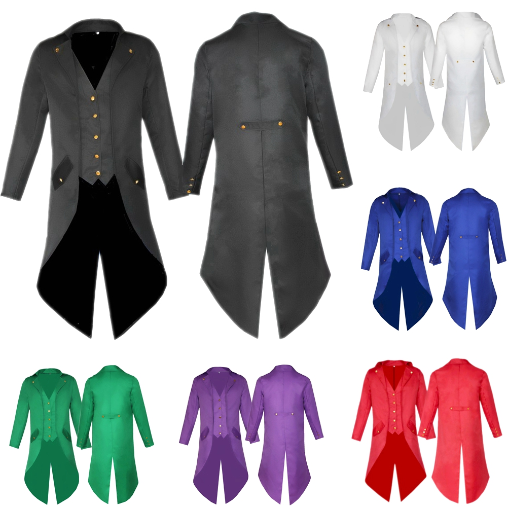 Retro Men Steampunk Costume Jacket Tailcoat Tuxedo Victorian Gothic Vintage Coat