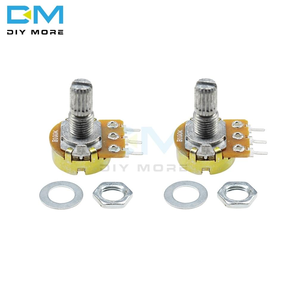 10pcs B1M 1M ohm 3 pin Linear Taper Rotary Potentiometer Pot Linear shaft 15mm
