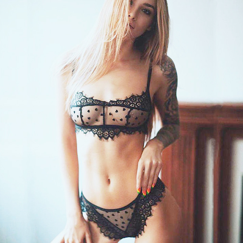 12adcfe77a16 Detail Feedback Questions about JUVA 2018 Eyelash Dot Lace Bralette Sets  Women's Sexy Lingerie Big Size Bralette Panties Set Dot Mesh sheer Lace Bra  Brief ...