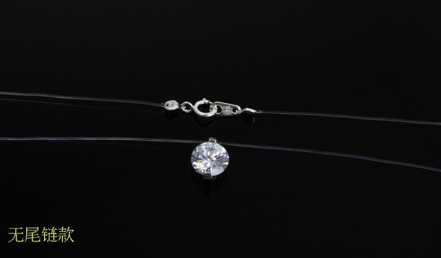 Summer 925 Silver Stereo Transparent fishing line stealth necklace Snowball Crystal From Austrian Locks Chain Valentine Gift 1