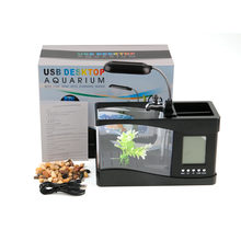 313006671a65cb USB акриловая мини аквариум светодио дный освещение свет с будильником для  Гостиная Спальня украшение стола аксессуары