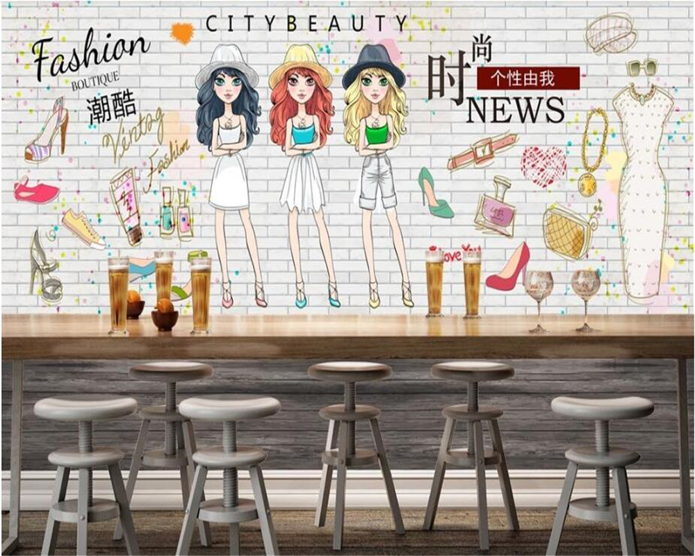 beibehang 2018 new fashion classic three-dimensional decorative wallpaper hand-painted women shopping background behang