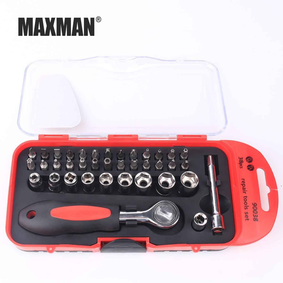Купить с кэшбэком MAXMAN HAND TOOLS Socket Ratchet Torque Wrench Extension Bar Drill Bits Automobiles Repair Tools Kit Multifunction Hand Tool Kit