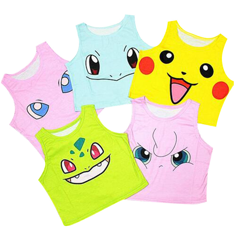 Tank     top   Pokemon pikachu cartoon turtle sexy sleeveless vest for female women's t-shirt short crop tube women   tank   vest cotton