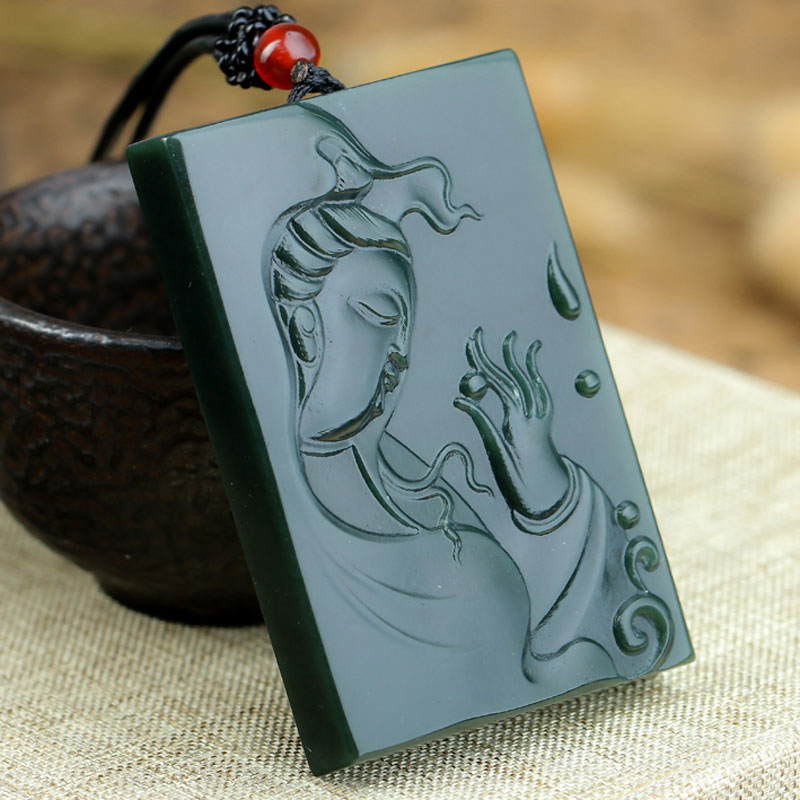 Natural Hetian Jade Hand Carved Retro Guanyin Pendant Men And Women Sweater Chain Jade Stone Pendant Jewelry Gift in Pendants from Jewelry Accessories