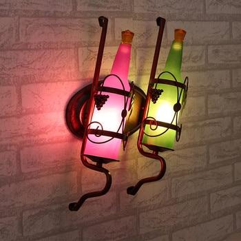 Schwarze Metallwanddekoration   Vintage Rustikalen Wandlampen Bier Flasche Wand Lampe Für Bar Schlafzimmer Flur Balkon Decor E27 Led-lampe Zu Hause Beleuchtung BRIGHTINWD