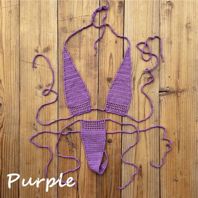 13 colores a mano Crochet tomar el sol caliente Bikini mujeres Sexy Micro traje de baño Lencería mini conjuntos