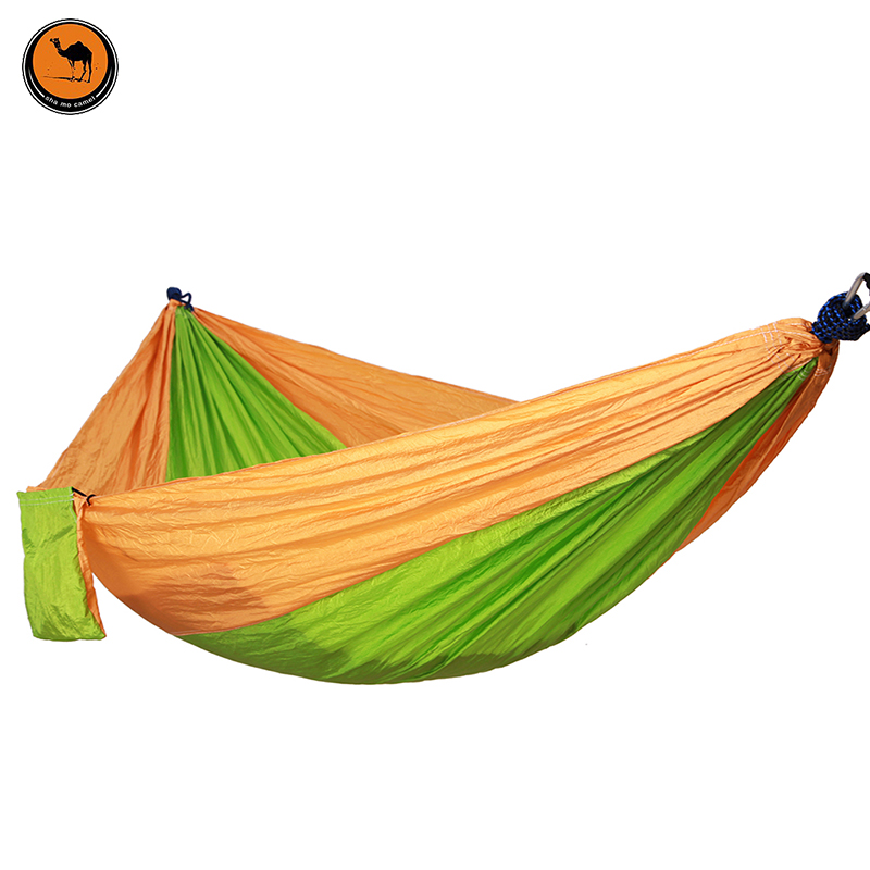 Camping Hammock, Portable Parachute Nylon Fabric Travel Ultralight Camping Double Wide Outdoor Travel(Yellow+Fruit green)