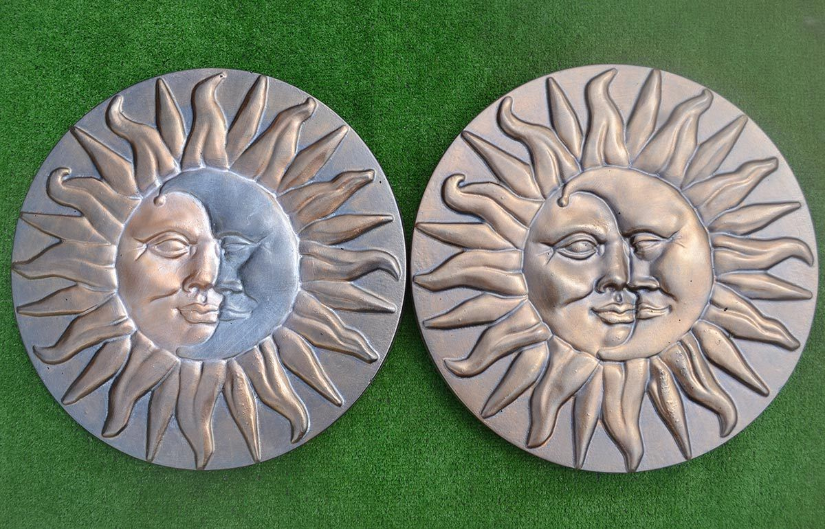 DAY AND NIGHT ROUND SUN U0026 MOON CONCRETE PLASTER PLASTIC MOLDS STEPPING STONE  MAKER GARDEN ROAD DIY MOLD WALL DEOCRATION