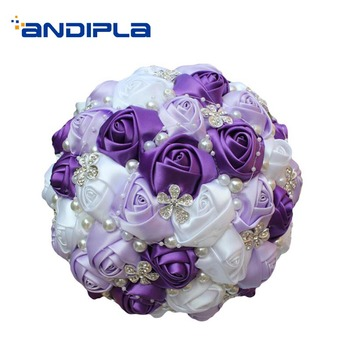 Bridal  Wedding Bouquet Romantic Wedding Decoration Accessories Household Upscale Ribbon Rose Flower Adornment Girlfriend Gifts