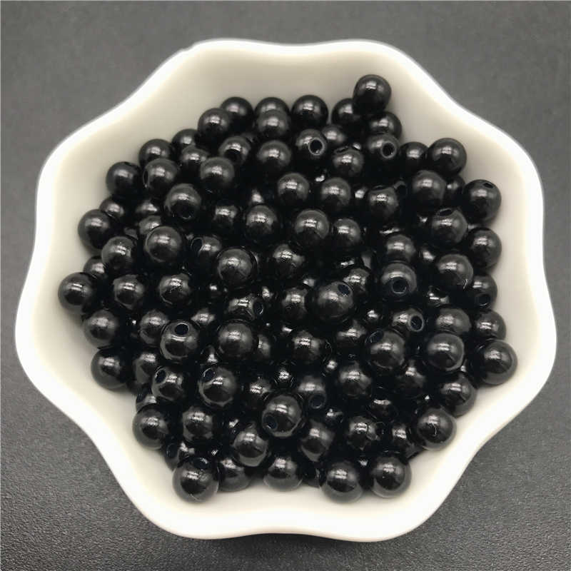 4mm 6mm 8mm 10mm Black Imitation Pearls Acrylic Beads Round Pearl Spacer Loose Beads For Jewelry Making