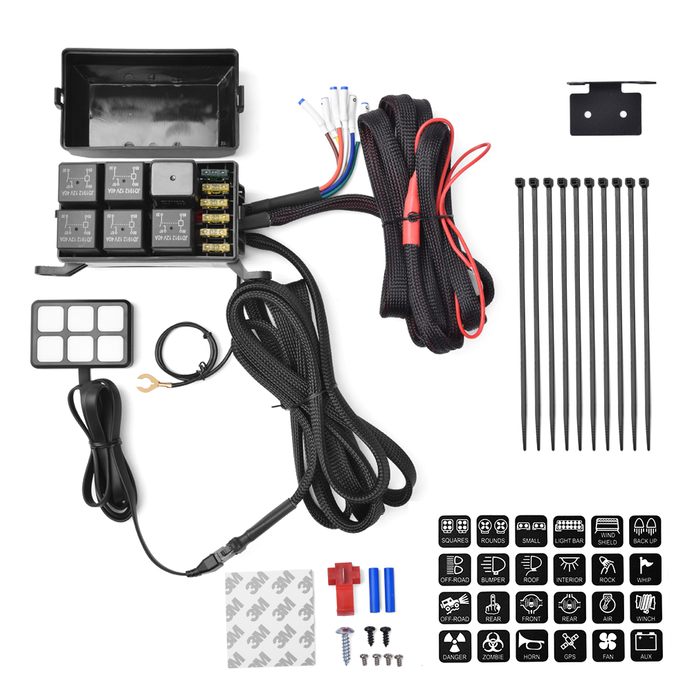 6 Gang Switch Panel Electronic Relay System Circuit Control Box Waterproof Fuse Relay Box Wiring Harness Assemblies DC12V For Ca