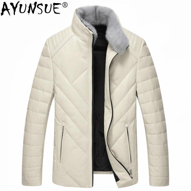 Ayunsue Новинка зимы роскошные кожаные пальто Для мужчин теплый пуховик норки меховой воротник верхняя одежда дубленка LWL1072