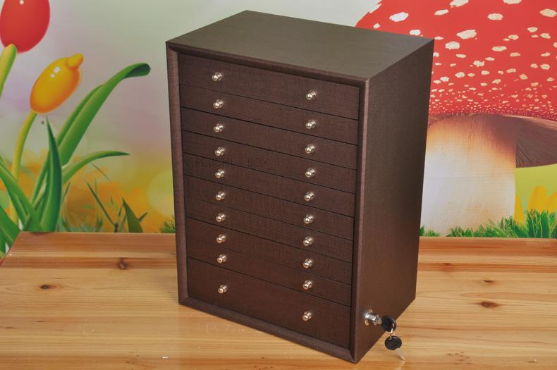 10 drawer wood storage drawer jewelry box makeup necklace earring