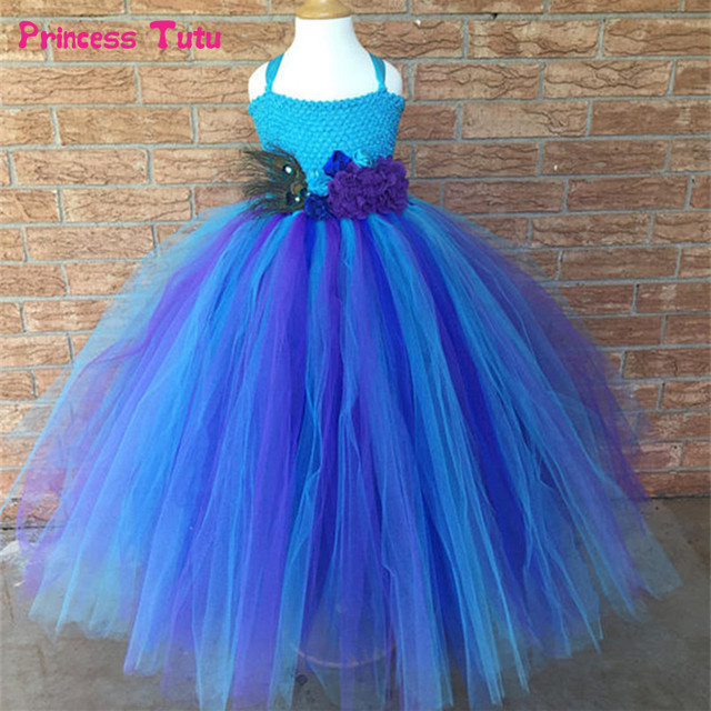 cea7e6227 Purple Blue Princess Peacock Tutu Dresses for Girls Kids Festival Holiday  Party Pageant Ball Gowns for Girls Flower Girl Dresses