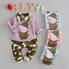 2pcs / 100% cotton spring youngsters's clothes 1-Three 12 months previous Korean informal spherical neck girls and boys sweater two units of kids'