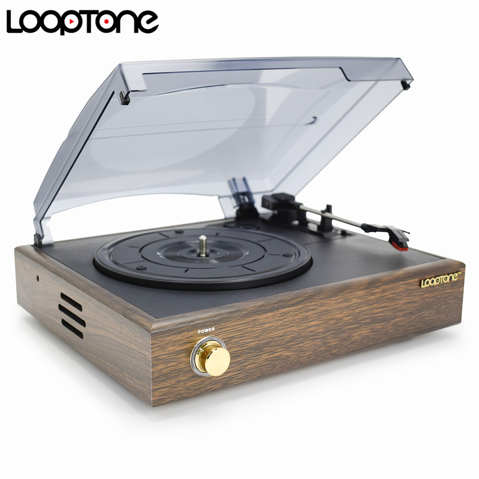 LoopTone Nostálgico Belt-Drive Turntable Vinil LP Record Player com 2 alto-falantes embutidos 33/45 / 78RPM PC Link AC110 ~ 130V e 220 ~ 240V