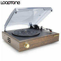 LoopTone Nostalgic Belt Drive Turntable Vinyl LP Record Player W 2 Built In Speakers 33 45