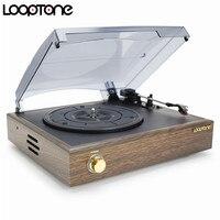 LoopTone Nostalgic Belt Drive Turntable Vinyl LP Record Player W 2 Built In Speakers 33 45
