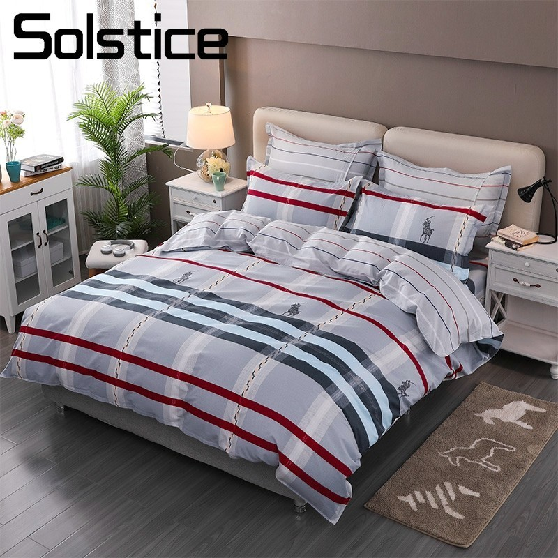 Solstice Home Textile Bedding Set 100%Cotton Kid Teen Boy Girl Linen Stripe Scottish Plaid Duvet Cover Pillowcase Flat Bed Sheet