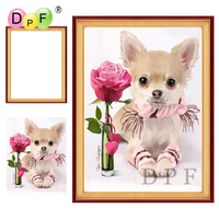 DPF Diamond Embroidery With Frame Rose And Dog Diamond Painting Cross Stitch Rhinestone Full Round Diamond