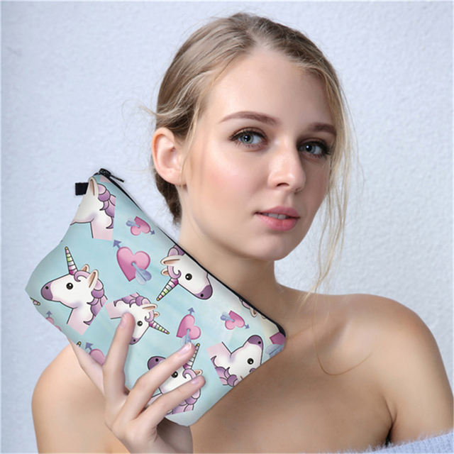 3D Printed Unicorn Cosmetic Bags Colorful Gift