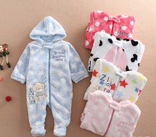 2016 Baby Rompers Cute Soft Newborn Baby Boy Cothes Long Sleeve Winter Rompers NewBorn Baby Girl Clothes Warm Baby Costumes
