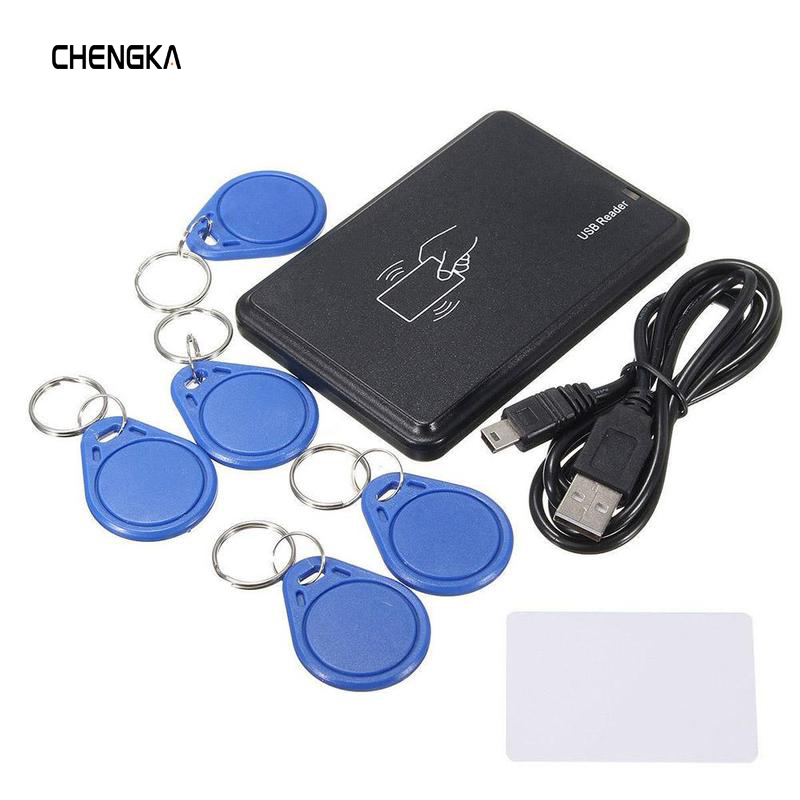 125 KHz RFID ID EM Card Reader Writer Copier with 5 EM4305 Key Tag 1 T5577