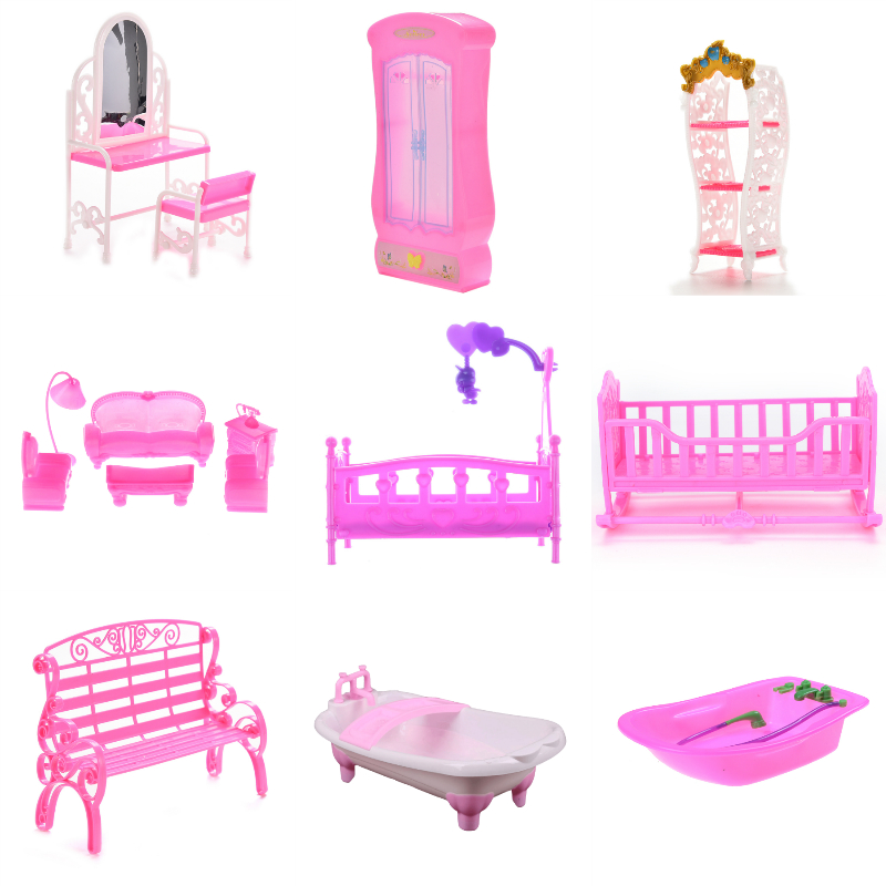 1Set Simulation Miniature Closet Piano Table Bed Bathtub Shoes Cabinet Baby Room For Kids Play Toy Miniature Furniture Sets