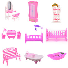 1Set Simulation Miniature Closet Piano Table Bed Bathtub Shoes Cabinet Baby Room For Kids Play Toy Miniature Furniture Sets(China)