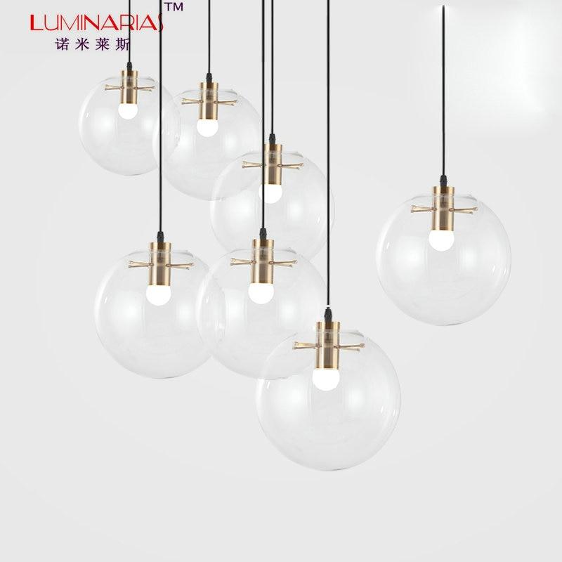 Nordic Clear Glass Ball Pendant Lamp Globe Galss Ball Pendant Light Suspension AC 110V 220V cd159 36w wjcolor changing pendant lamp ac 220v