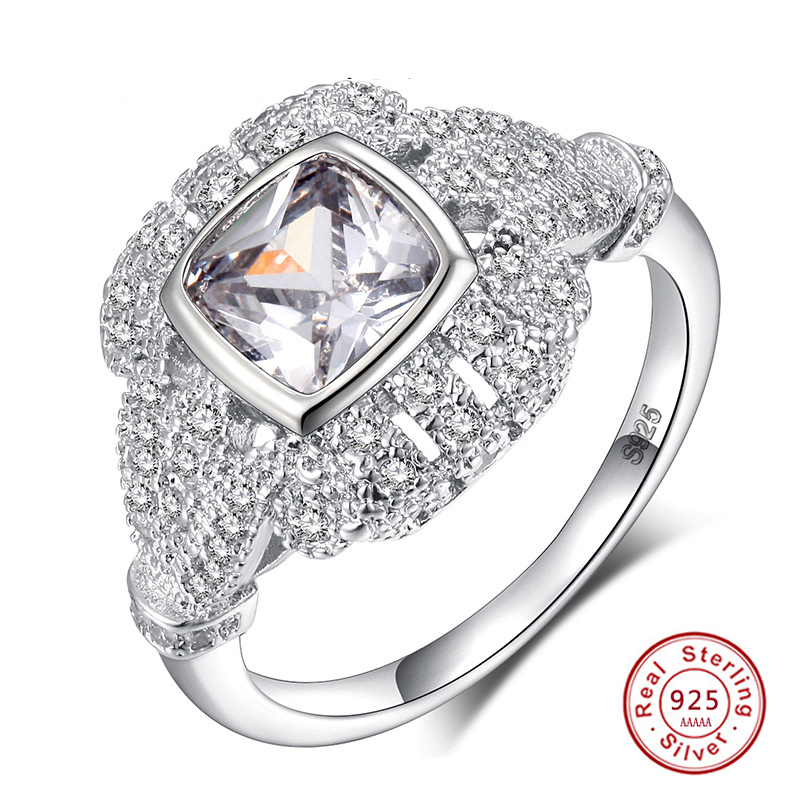 Phospher S925 Silver Handmade Silver Jewelry for Women Vintage Wind Diamond Ring B 6