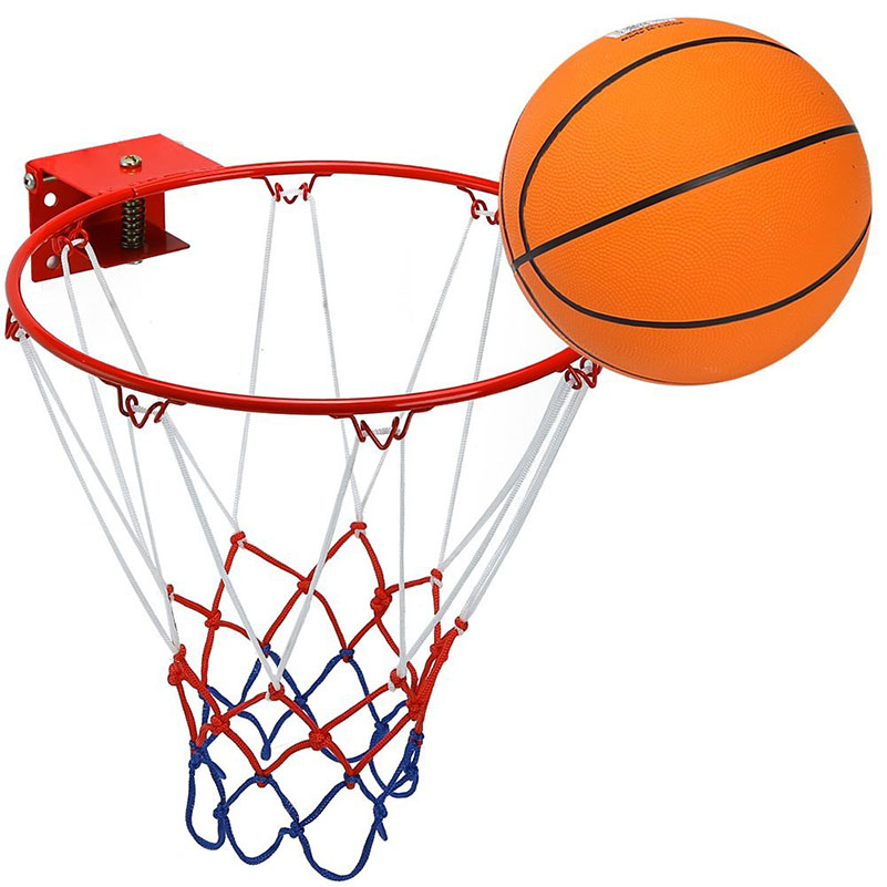 Детское кольцо для баскетбола из нержавеющей стали, 32 см/12,6 дюйма, с резиновым шариком 20 см/8 дюймов и настенным кронштейном