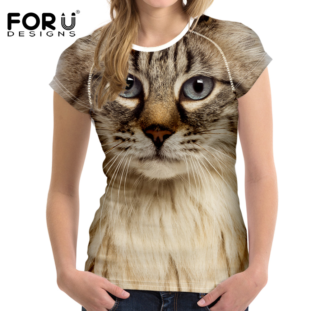 FORUDESIGNS Black 3D Cat Animal Women Casual T-skjorte Brand Clothing Women Short Sleeved Pustende Tshirt Female Fitness Tops