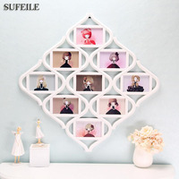 SUFEILE 6 Inch Photo Frame 9pcs Family Pictures Combination Wall Picture Frame PVC Material Lens Plastic