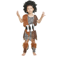 2017 Halloween Boy Girl Kids Savage Cosplay Costume African Exotic Leopard Birthday Children S Day Performance