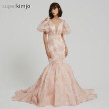 e412978182 Kimjobridal suknie balowe różowy krótki rękaw dekolt Sweetheart koronka  syrenka sąd pociąg suknie wieczorowe suknie prawdziwe zd.
