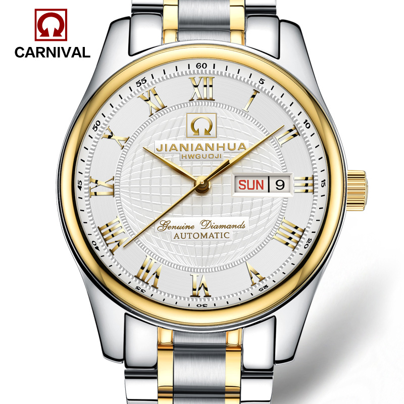 Luxury Waterproof  watch men Sapphire glass silver Stainless Steel Date Week  Automatic machine watch relogio masculino luxury moon phase watch men sapphire glass stainless steel waterproof automatic machine date watch relogio masculine