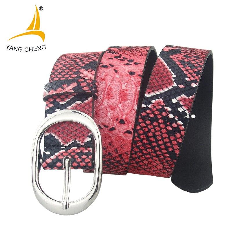 [CNYANGCHENG]3.8cm colorful snake belt fashion nice ladies belt 2017 red clothing women leather belt cummerbunds high quality