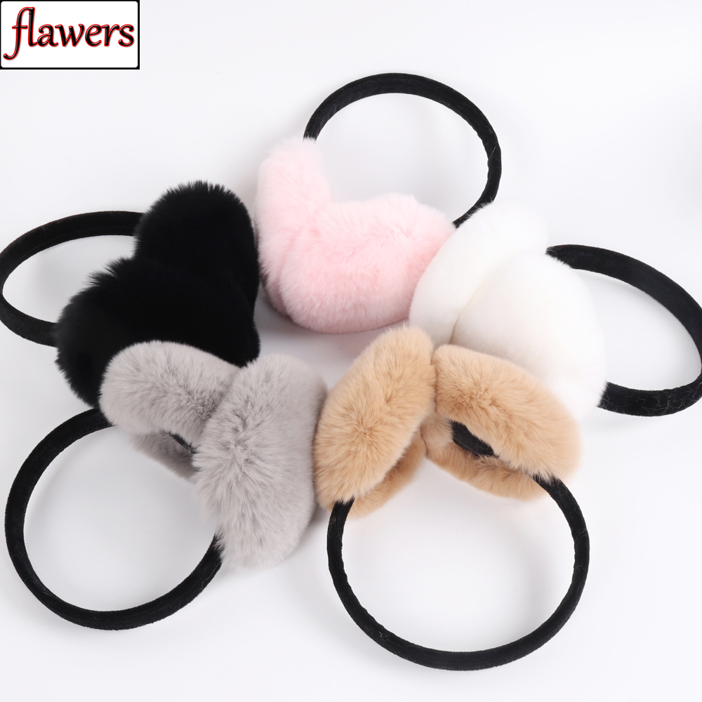 Russian Lady 100% Genuine Rex Rabbit Fur Earmuffs Winter Warm Women Real Rex Rabbit Fur Earmuff New Elastic Natural Fur Earflaps