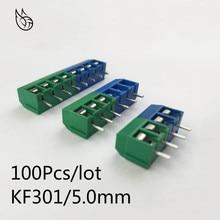 цена на 100Pcs/lot KF301-5.0-2P KF301-3P KF301-4P Pitch 5.0mm Straight Pin 2P 3P 4P Screw PCB Terminal Block Connector Blue Green