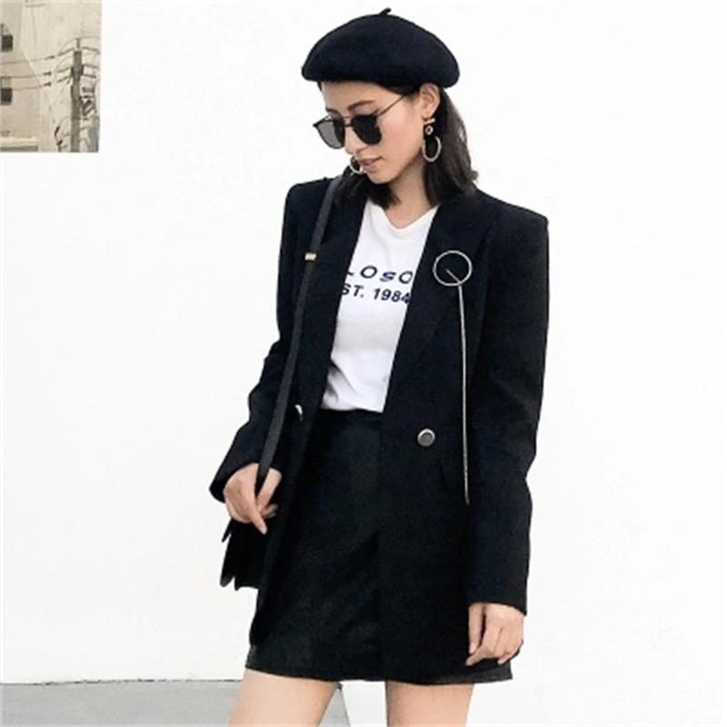 Black Blazers Women jacket New Autumn new small suit chain brooch casual retro loose black long blazer women