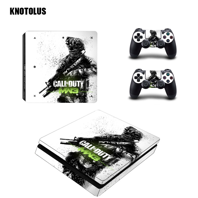 For Sony Play Station 4 Slim Vinyl Decal Skin Call of Duty Infinite Warfare for ps4 Console Sticker Controller Protective Cover