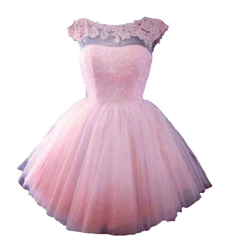 De Calidad superior 2017 Corto De Color Rosa Vestidos de Baile de ...